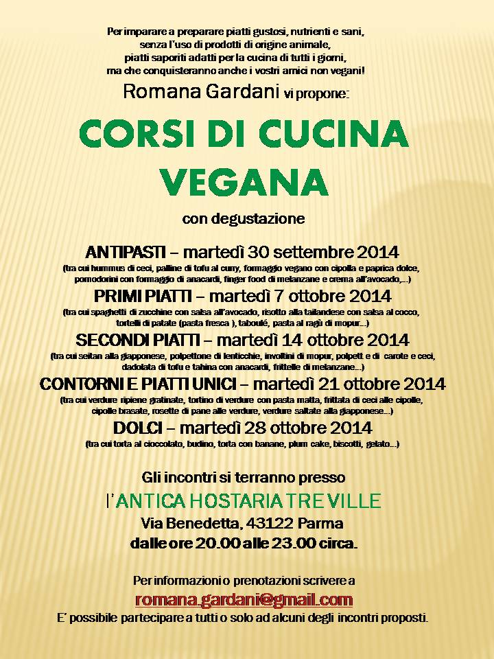 nuovi corsi di cucina dedicati ai vegani e a chi vuole conoscere ... - Corsi Cucina Parma